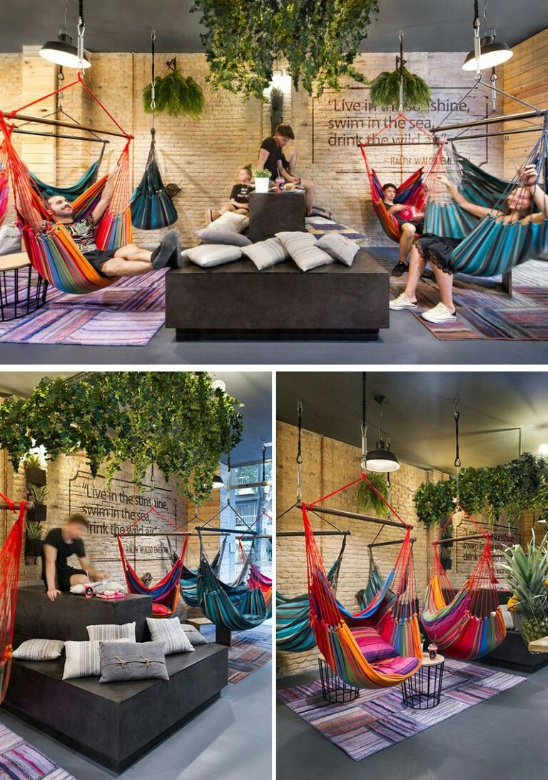 This Juice Bar In Spain Is Filled With Hammocks Interiør design