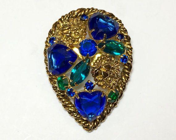 60s Blue Rhinestone Brooch  Gold & Blue by GlennasJewels on Etsy