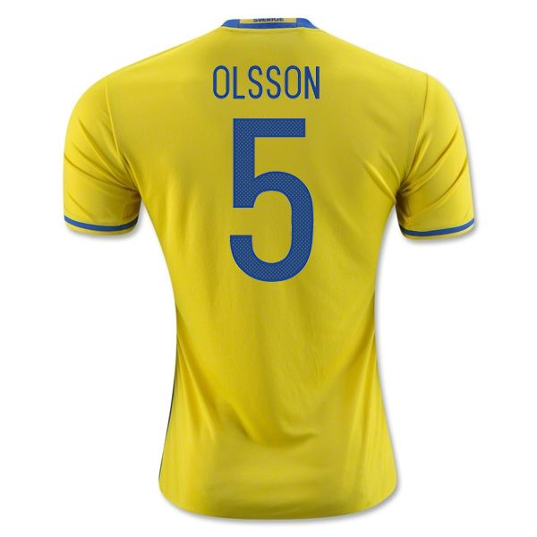 220f22552 Martin Olsson 5 2018 FIFA World Cup Sweden Home Soccer Jersey