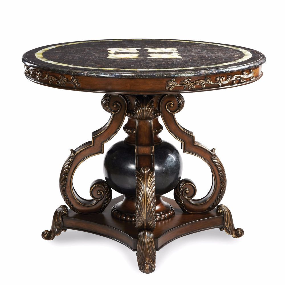Michael Amini Collection Round Center Foyer Room Table Marble Top Furniture Mamini Traditional Michael Amini Furniture Aico Furniture Furniture