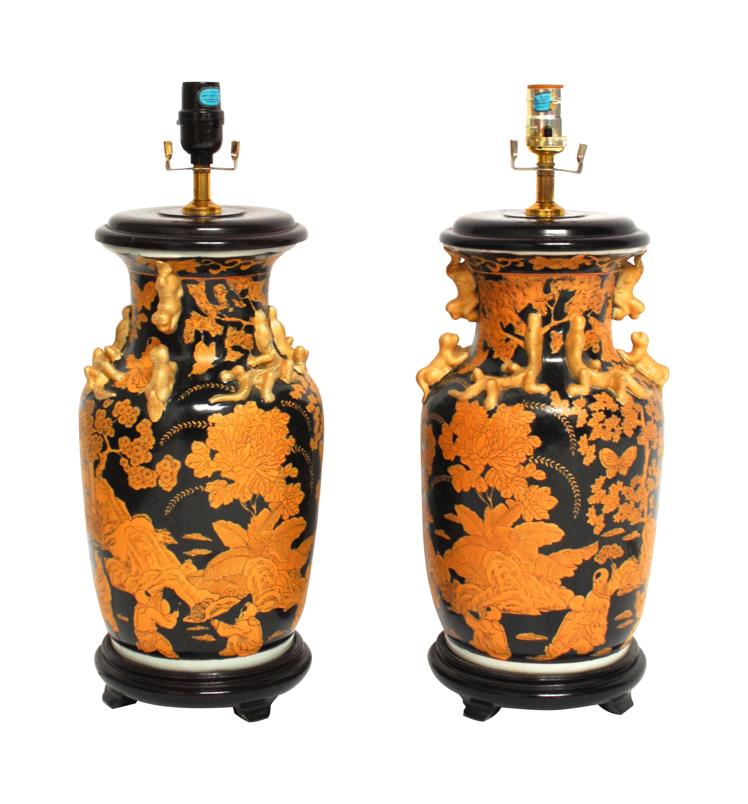 Antique Chinese Famille Noir Vase Lamps - A Pair on Chairish.com