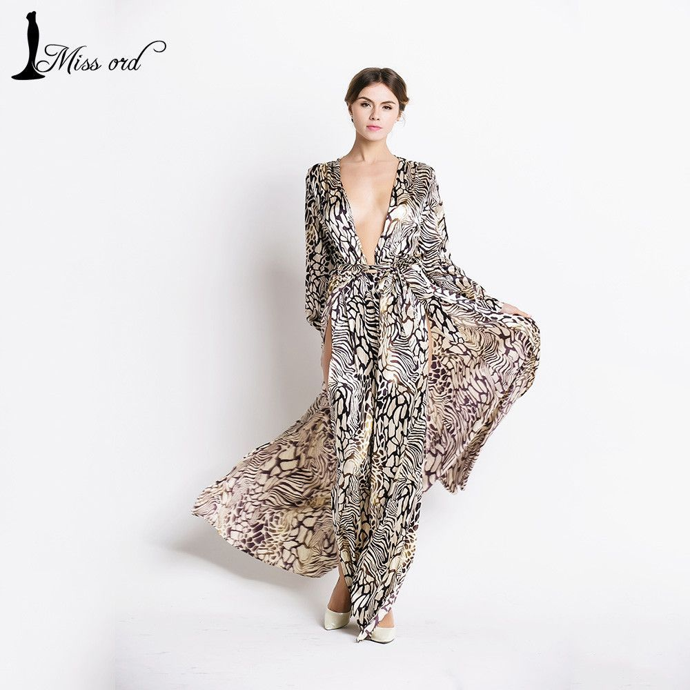 Sexy deepv long sleeve split leopard printing dress beach dress