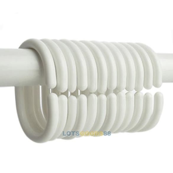 LS4G Home Use Pack of 12 Shower Curtain Hook Hanger Plastic Ring ...