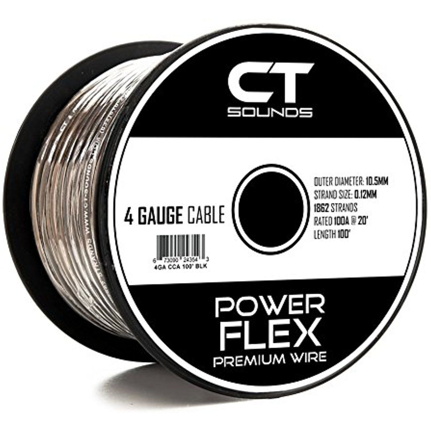 Ct Sounds Car Audio 4 Ga Wire 100 Feet Power And Ground Cable Wiring Black 4 Gauge 100 Foot Want To Know More Click On T Wire Car Audio Power Wire