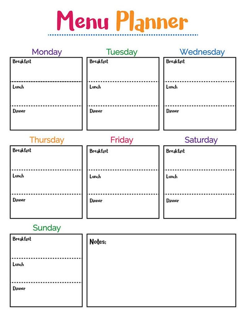 Colorful Meal Planner Printable, Printable Menu Pl