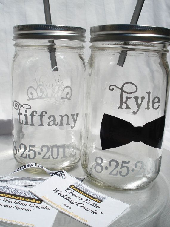 Two Wedding Name Personalized Mason Jars By Bittersweetlemonade 30 00 Personalized Mason Jars Wedding Mason Jar Wedding Decor Personalized Mason Jars