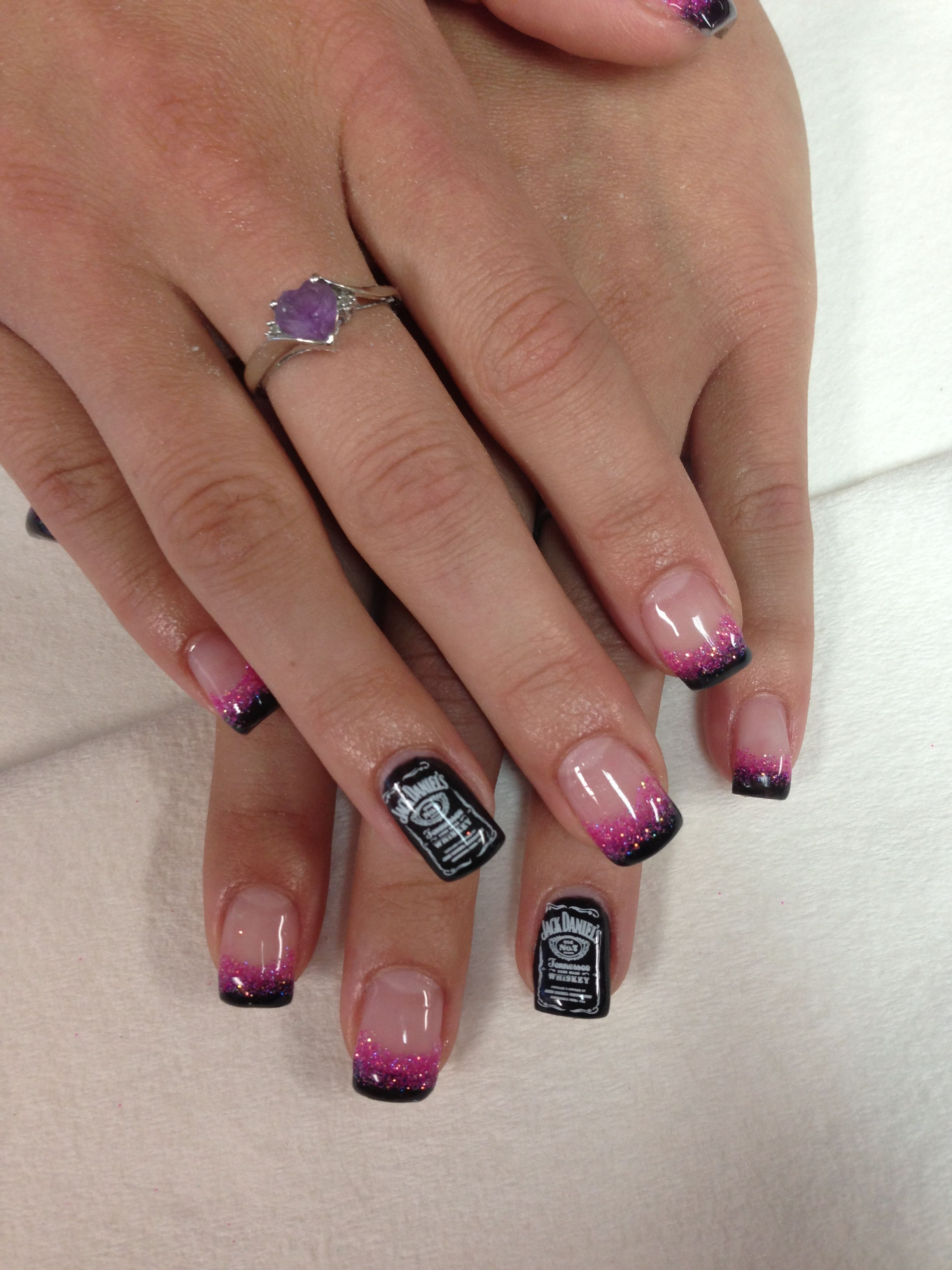 Jack Daniels nails with black and pink glitter fade www ...