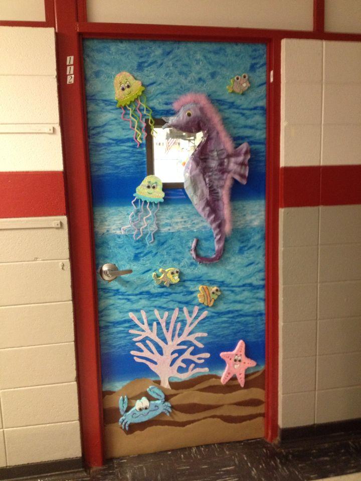 Classroom Art door. Seahorse, jellyfish, crab, starfish ...