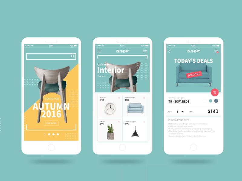 Home Design Shop App Interface Design Mobile Web Design Mobile App Design