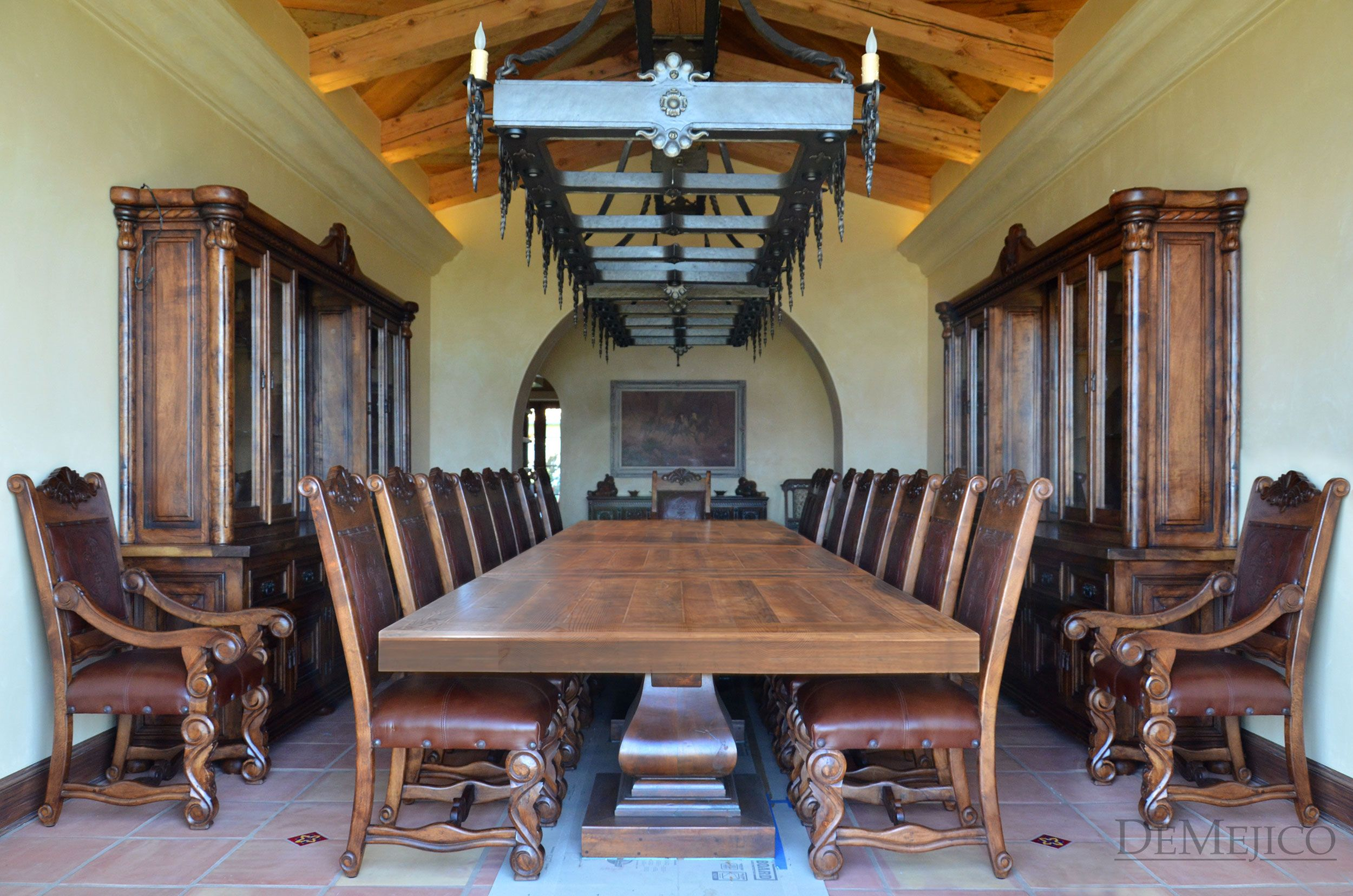 16' Dining Table Manufactured From Mesquite Wood  Custom Classy Spanish Dining Room Table Design Inspiration
