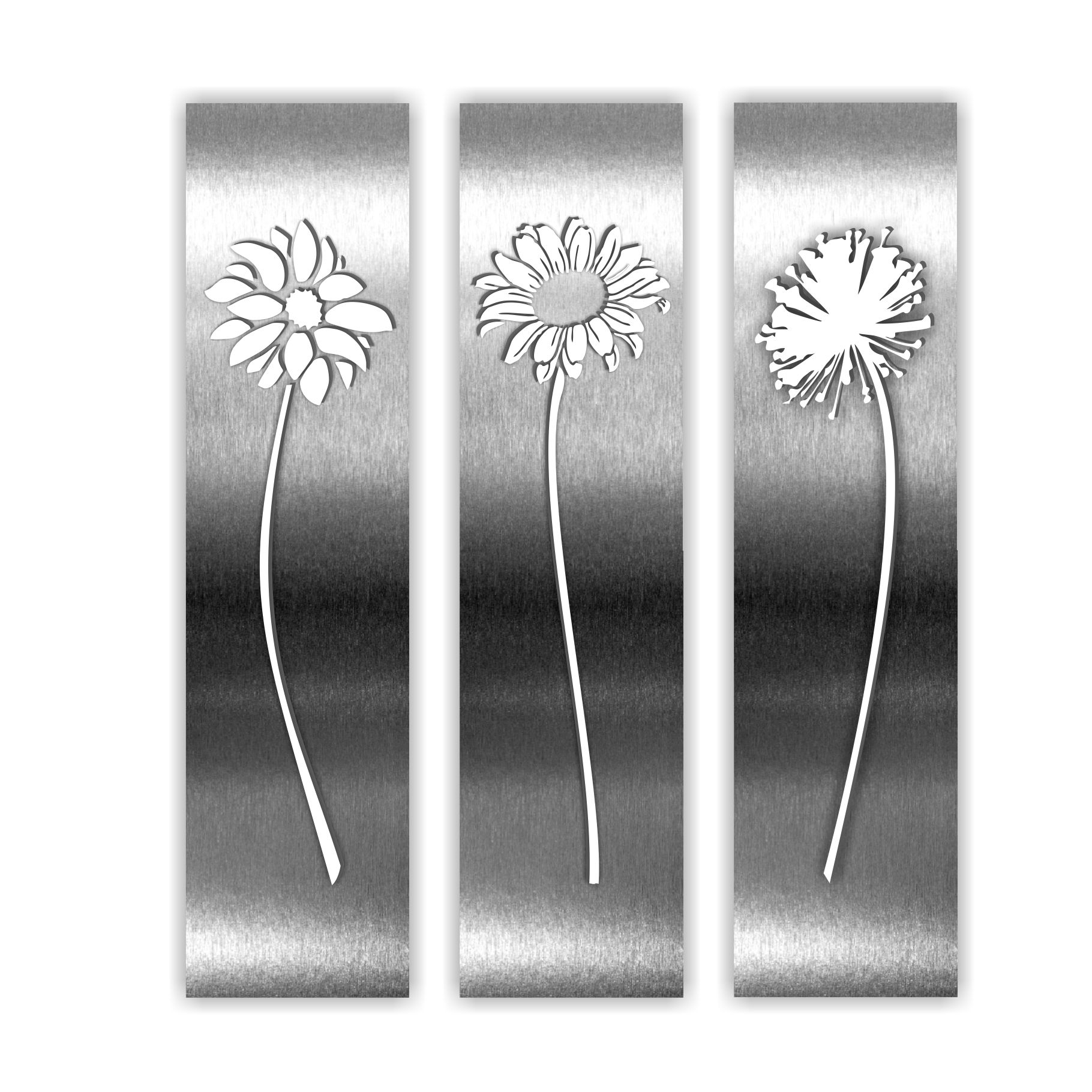Premium 100 Recyclable Stainless Steel Artwork By Nz Designer Lisa Turley Flower Triptych Measures 100mm X 400mm X Steel Art Steel Wall Art Garden Wall Art