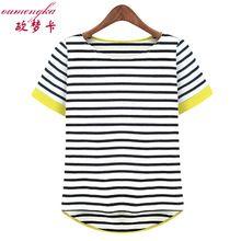 Novas Mulheres Tops O Pescoço T-Shirt de Manga Curta Listrada Camisetas Tees Blusas Femininas Frete Grátis M L XL XXL XXXL XXXXL Mais tamanho(China (Mainland))