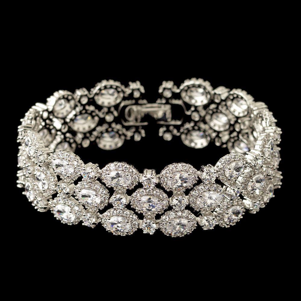 Triple Row Oval Cz Wedding Bracelet Bridal Bracelet Wedding Bracelet Bridal Fashion Jewelry