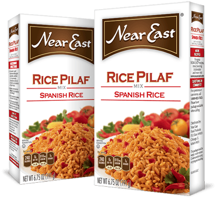 Our Spanish Rice Pilaf is a zesty, mildly spicy dish made from long grain rice with tomatoes, onions, garlic and Spanish-style spices.  Near East Spanish Rice Pilaf Mix is Kosher Certified *OU*.