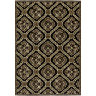 "Darby Home Co Ridgway Black/Green Napoli Area Rug Rug Size: Runner 2'3"" x 7'10"""