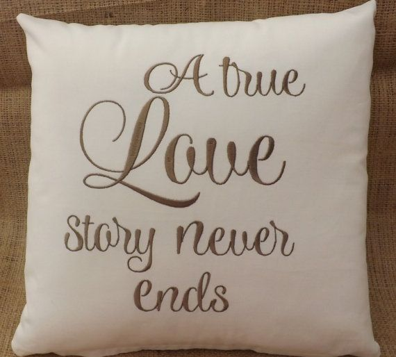 14 Wedding Anniversary Gift Ideas: Embroidered Decorative Pillow, Anniversary Pillow, Gift