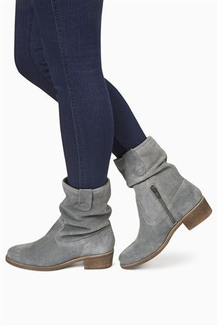 Grey Square Toe Suede Slouch Ankle Boots from the Next UK online ...
