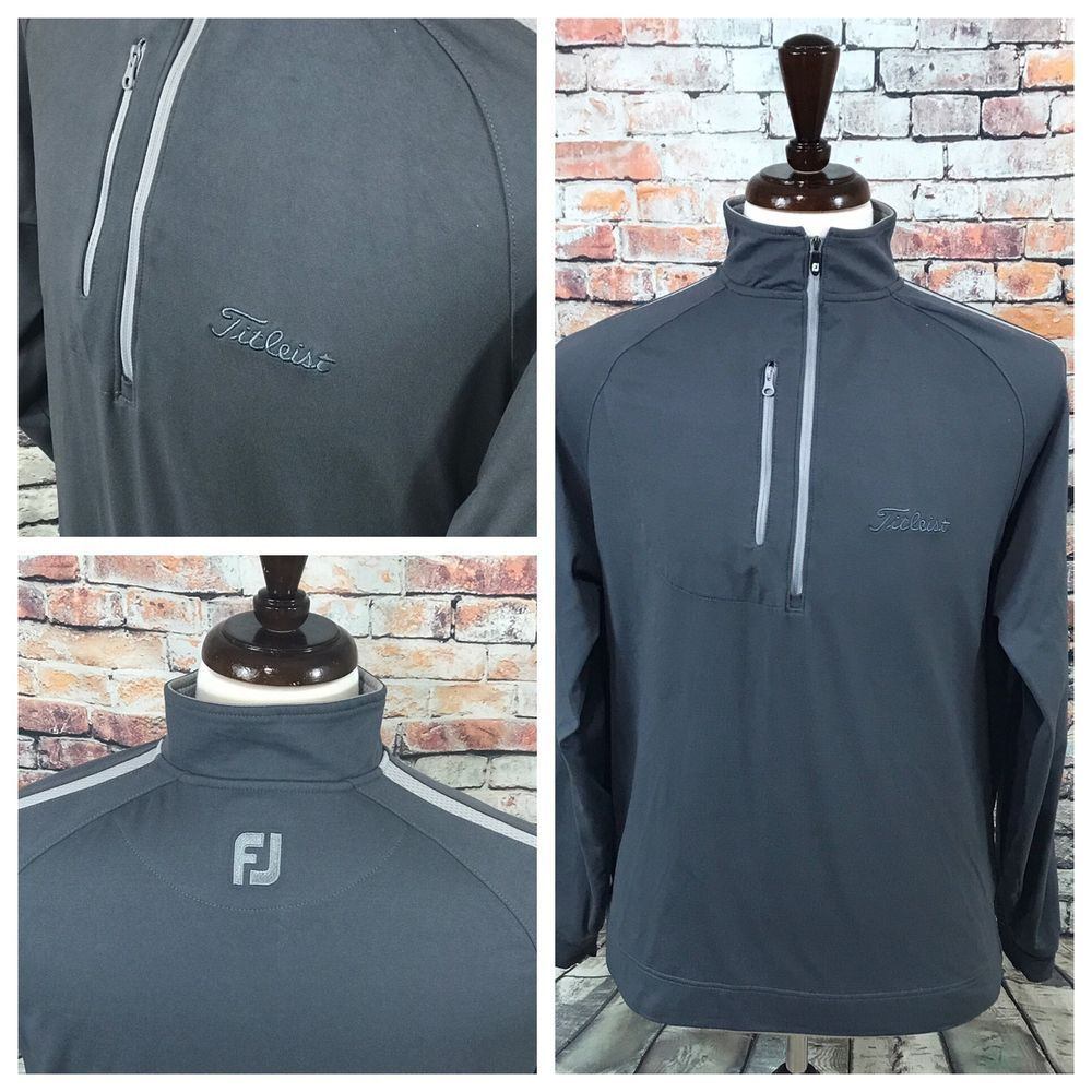 Mens Footjoy Titleist Long Sleeve Pullover Size M Half Zip Gray ...