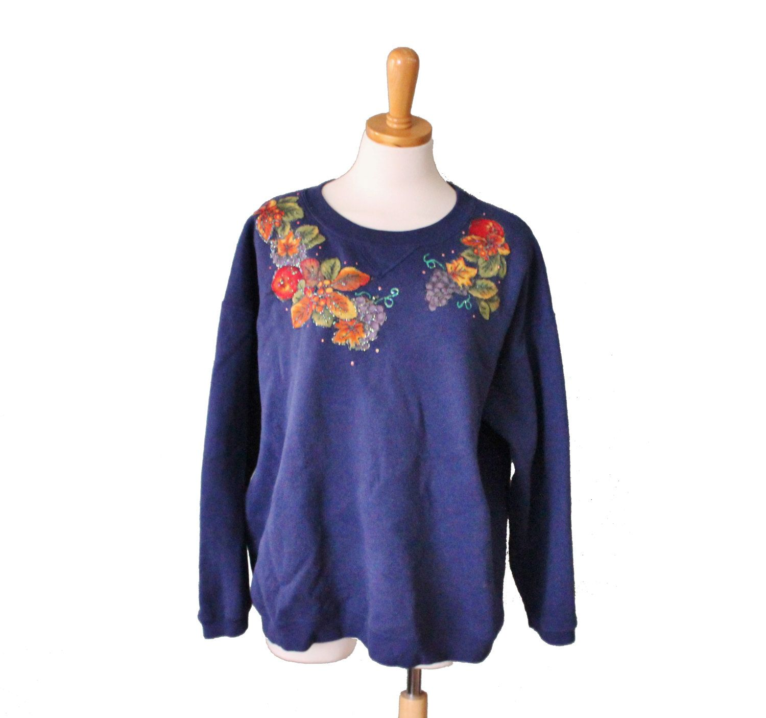 Vintage 90s Navy Blue Glitter Harvest Leaves Iron On Sweatshirt - Women XL 2XL - Autumn Fall Thanksgiving, Hanes by bluebutterflyvintage on Etsy