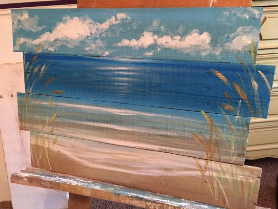 Ocean Beachscape Pallet Art Sign Nautical Reclaimed Wood Summer Vacation Beach House Painting Seascape Island Tropical Picture Shabby