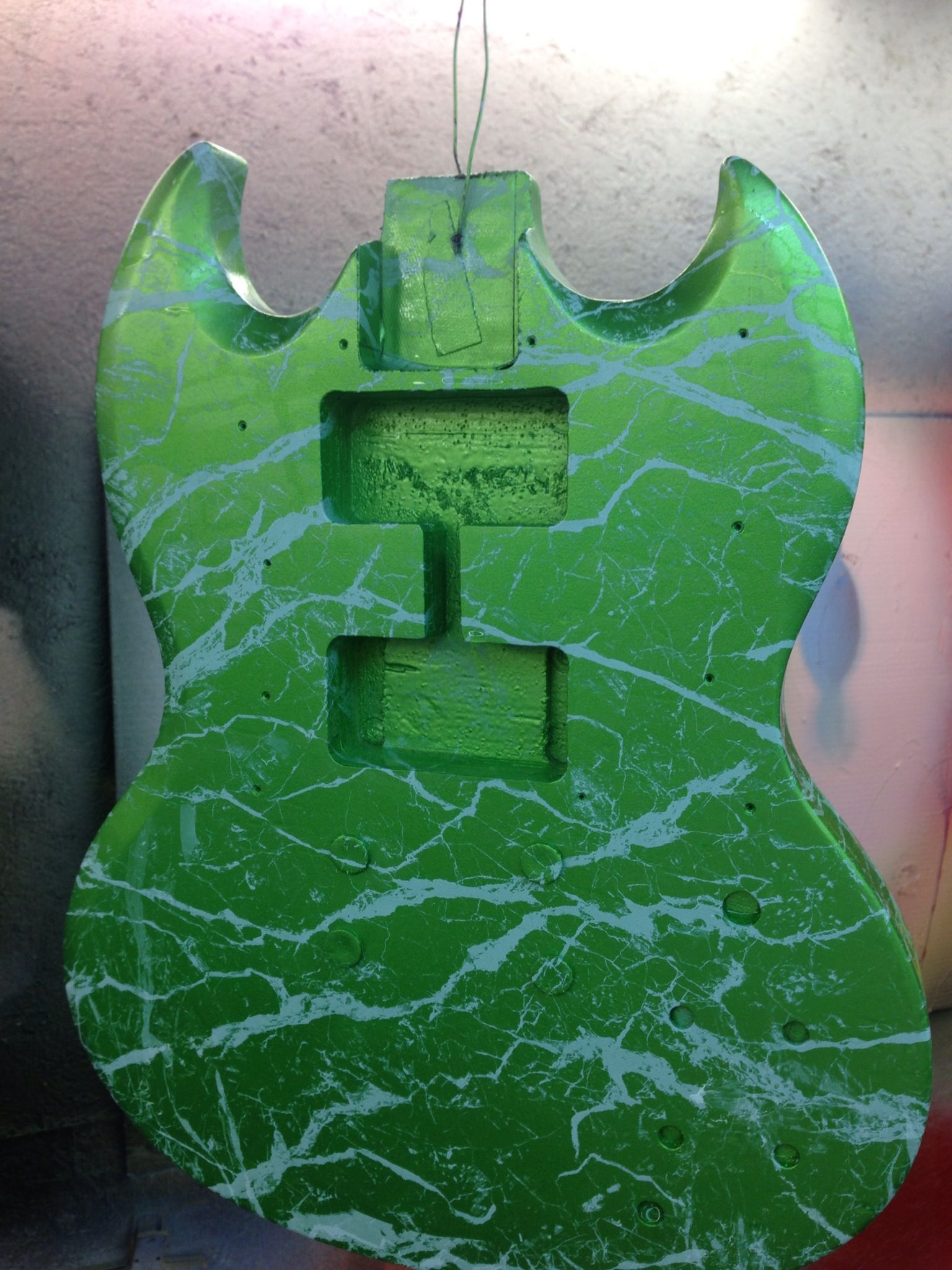 electric guitar in hydrographics print over green paint by. Black Bedroom Furniture Sets. Home Design Ideas