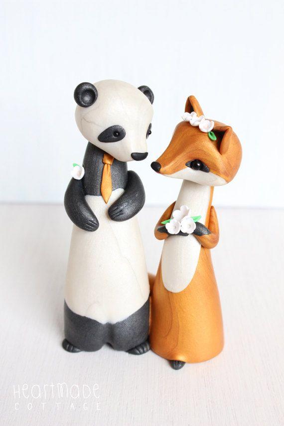 Panda And Fox Wedding Cake Topper Original Cake Topper And Keepsake Figurine By Heartmade Cottage Wedding Cake Toppers Fox Wedding Cake Toppers
