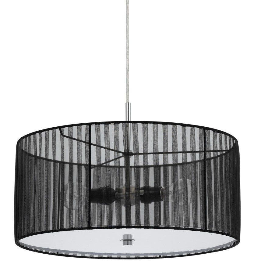 Organic black sheer fabric modern drum pendant light fixture organic black sheer fabric modern drum pendant light fixture chandelier hanging lamp 18 wide mozeypictures Gallery