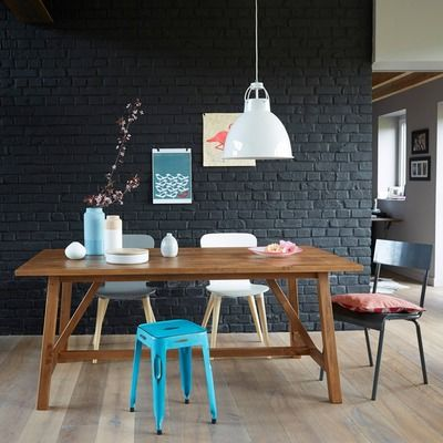 Table salle à manger rectangulaire pin massif 6 convives Teck- Vue 1
