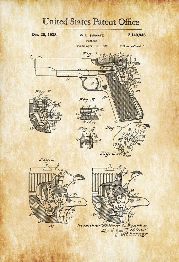 Colt Firing Pin Safety Patent - Patent Print, Wall Decor, Gun Art - new blueprint gun art