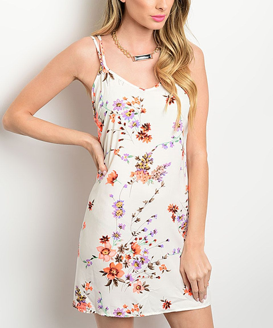 Look at this #zulilyfind! Ivory & Coral Floral Crisscross Sleeveless Dress by Shop the Trends #zulilyfinds