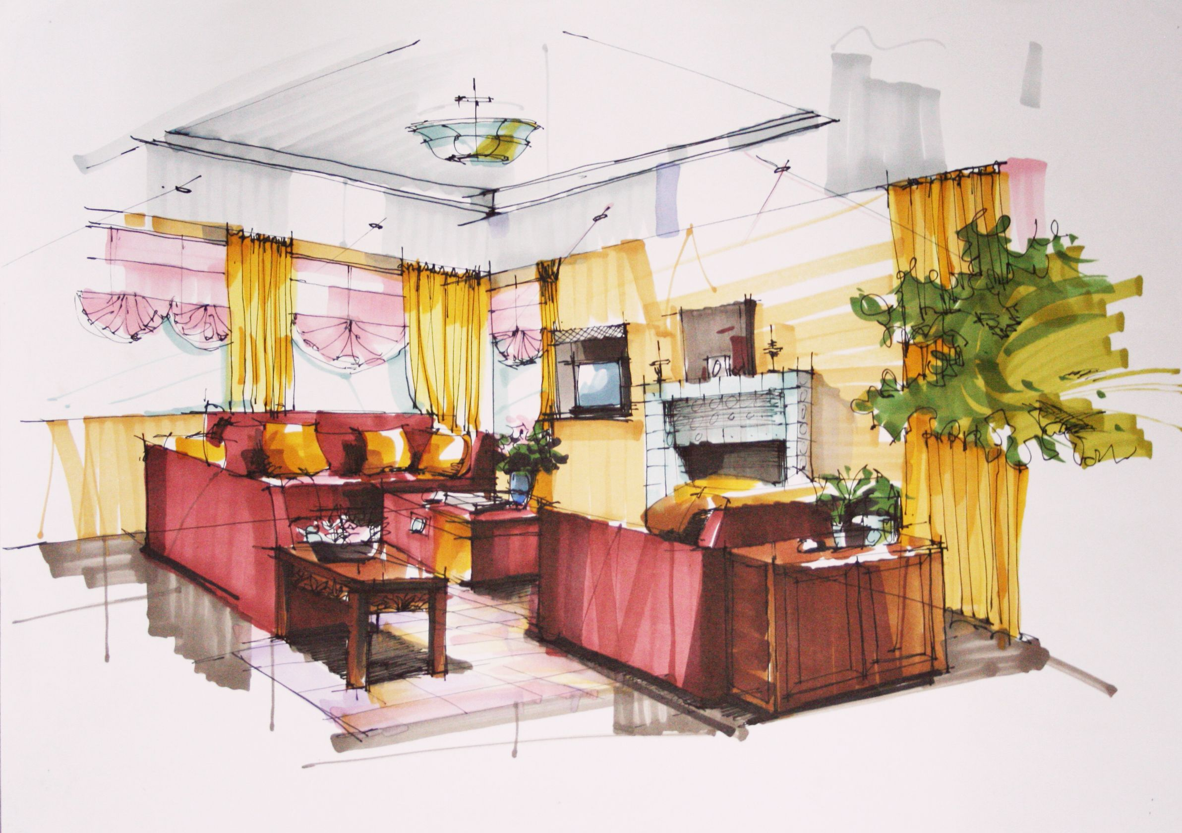 interior design interior designer drawing of living room design with red sofa set plus end table front of fireplace and yellow curtain the benefits from - Draw Interior Design