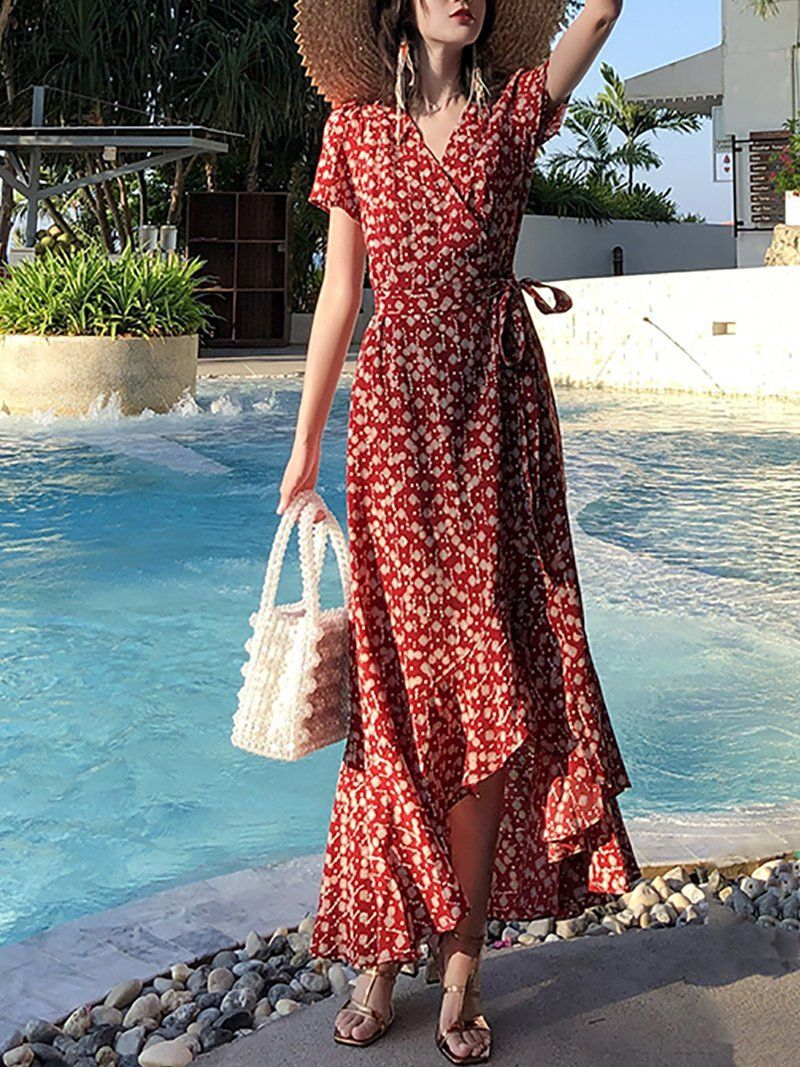 Modern Printed Colour V Neck Short Sleeve Maxi Dresses Maxi Dress With Sleeves Maxi Dress Short Sleeve Maxi Dresses [ 1067 x 800 Pixel ]