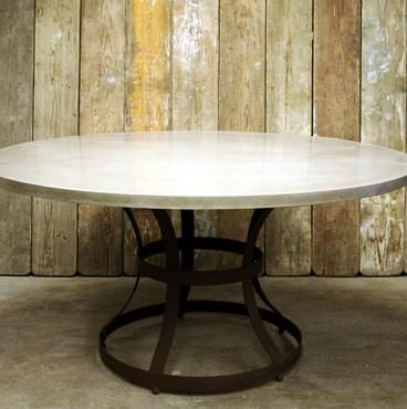 Los Angeles Round Concrete Top Dining Table with Iron Cage Base