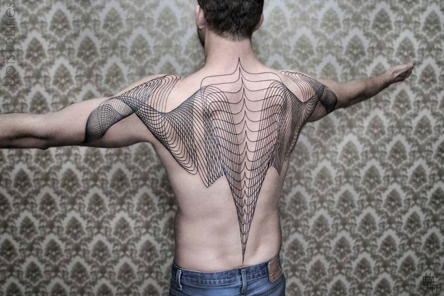 Geometric Line Tattoos Flow Across the Human Body by Chaim Machlev | it COLOSSAL
