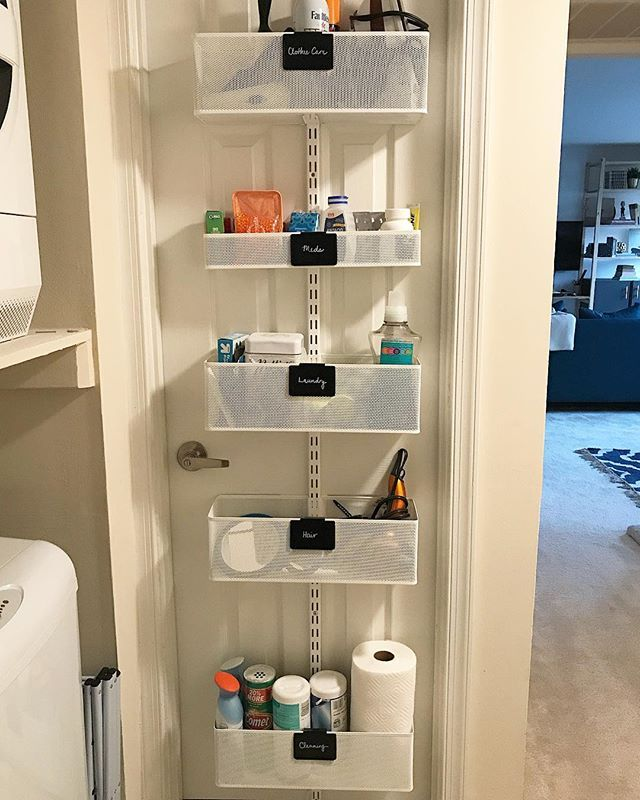 This Is The Outside Of My Bathroom Door I Use This Elfa Over The Door Rack With Mesh Baskets For Both My Closet Door Storage Outside Laundry Room Door Storage