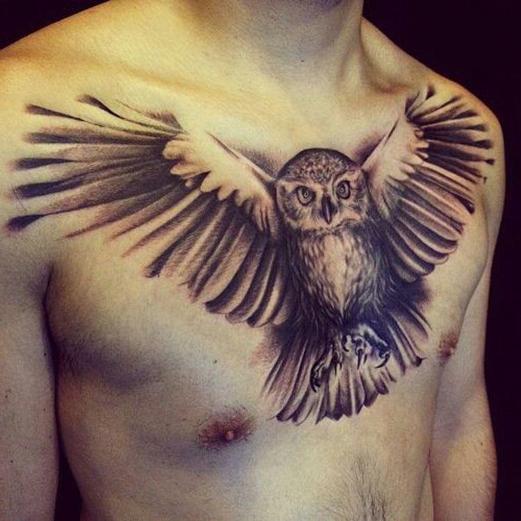 flying owl #tattoo on chest | Tätowierungen, Eulen tattoo ...
