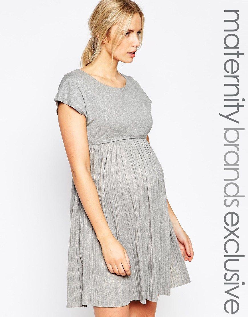 4abeb51302b Mamalicious Jersey Pleated Dress Asos Maternity