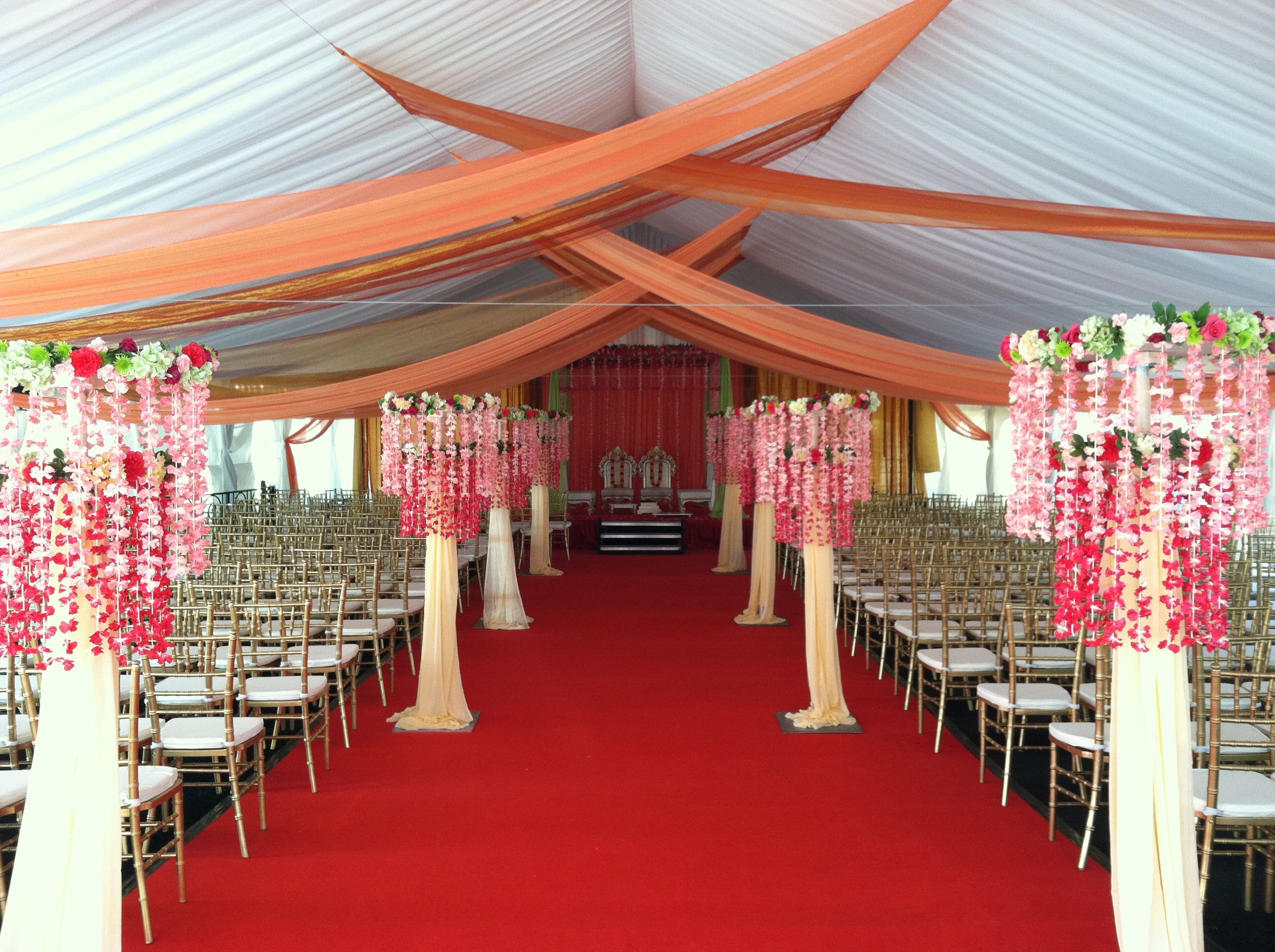 Fabric Draped Down Aisle Click On The Following Links To