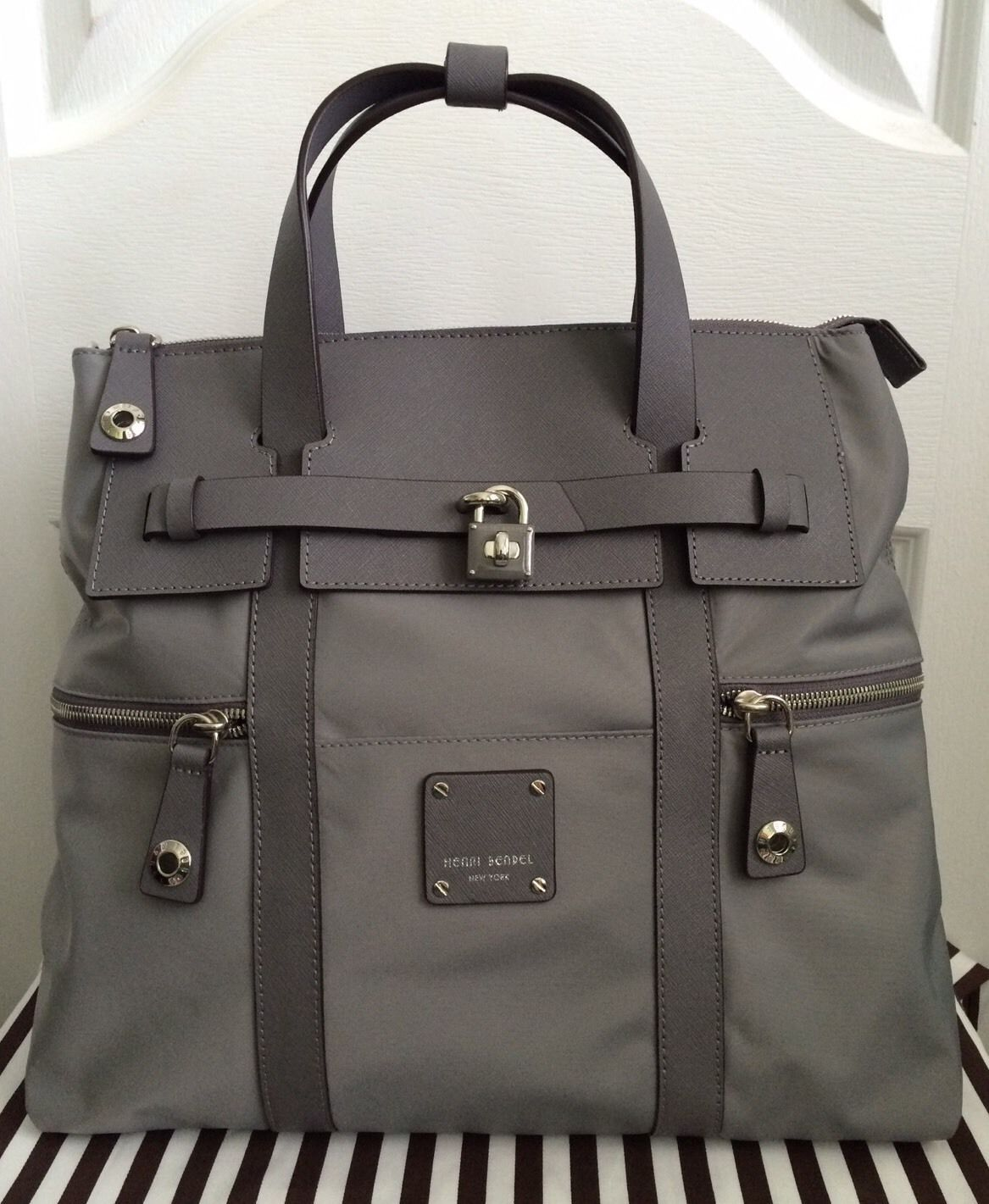 New Henri Bendel Jetsetter Convertible Backpack Crossbody Grey  278 New  1ed35872c76b7
