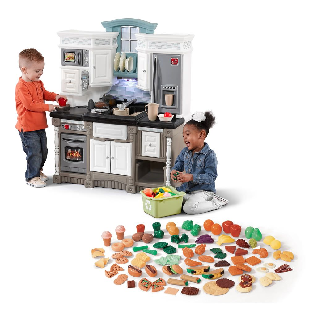 This play kitchen set with extra play food is great for little ...