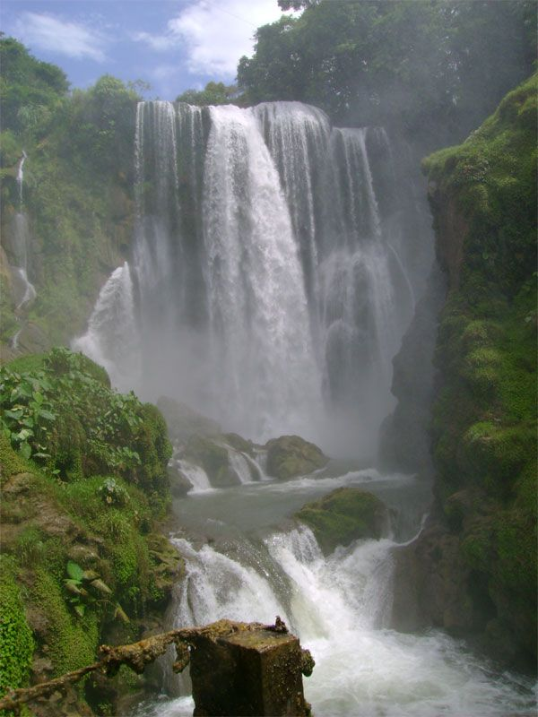 "this Waterfall is called Pulhapanzak. It's located in Honduras and I visited in when i lived there back in 2000. There is a spot where you can jump off the cliff ""safely"", and I'm happy to say I did, twice, then all the addrenaline left me and my legs turned to rubber, one of my best days ever!"