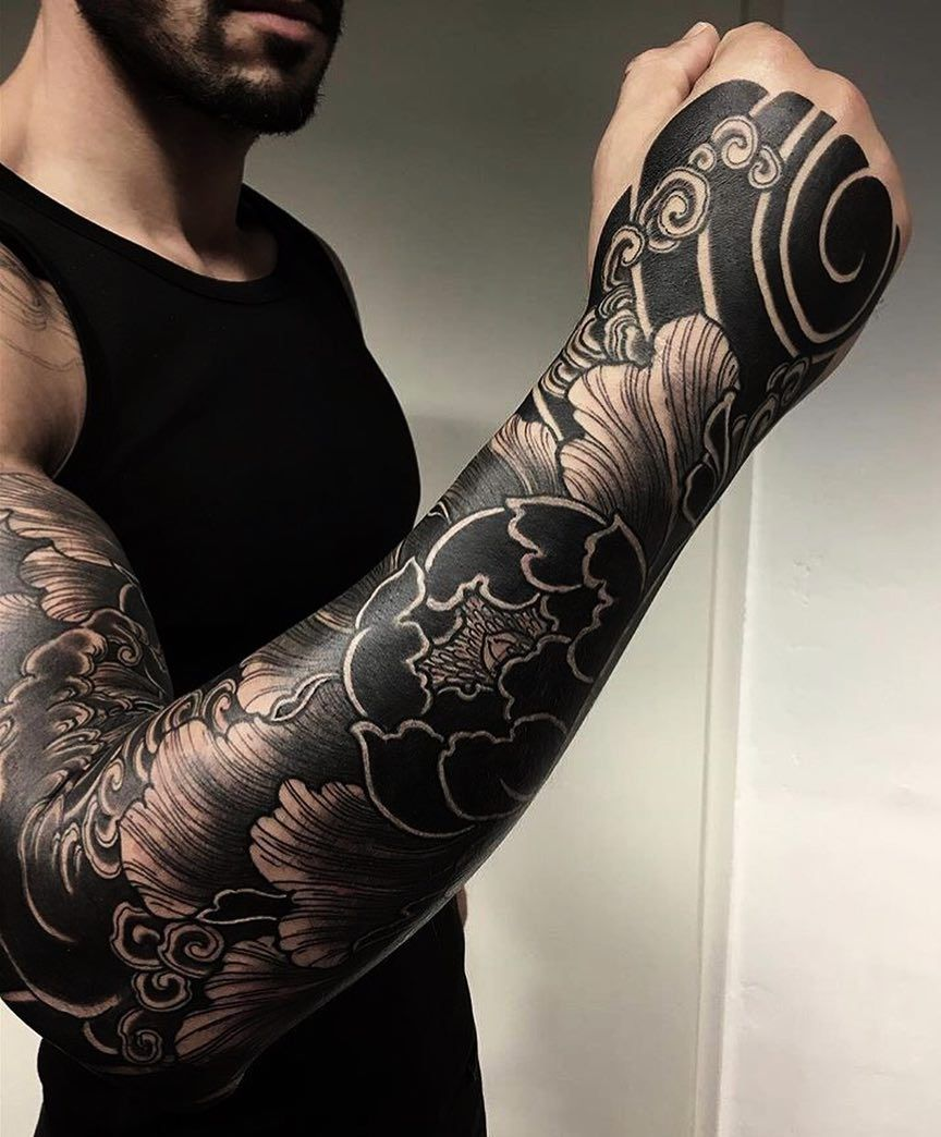 df3057c38 Really great Japanese tattoo sleeve. Super strong and bold. #CuratedTattoo.