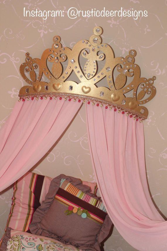 Princess Baby crib bed canopy crown, wall art, wakeup sweet pea bed ...
