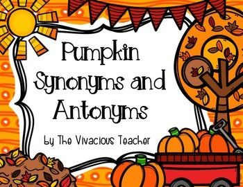Pumpkin Synonyms and Antonyms Matching Game ~ Students will practice matching synonyms and antonyms with this colorful pumpkin themed matching game. Grades 4-6 ~ The Vivacious Teacher