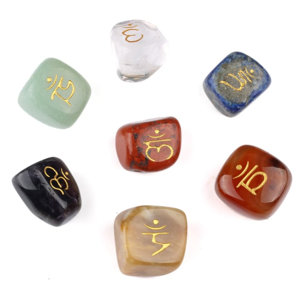 7pcs//set Natural Tumbled Chakra Stone Carved Reiki Healing Crafts EN0615SY