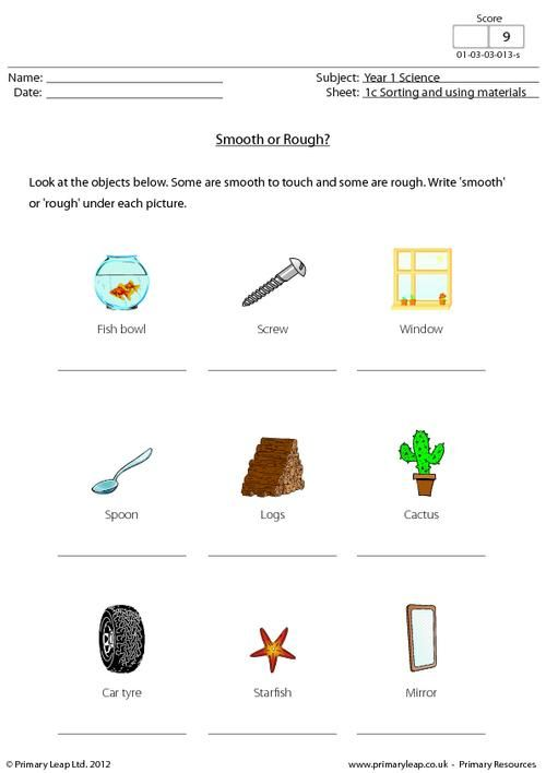 Smooth Or Rough Worksheet Kindergarten Worksheets Worksheets Science Worksheets Science worksheets grade 1