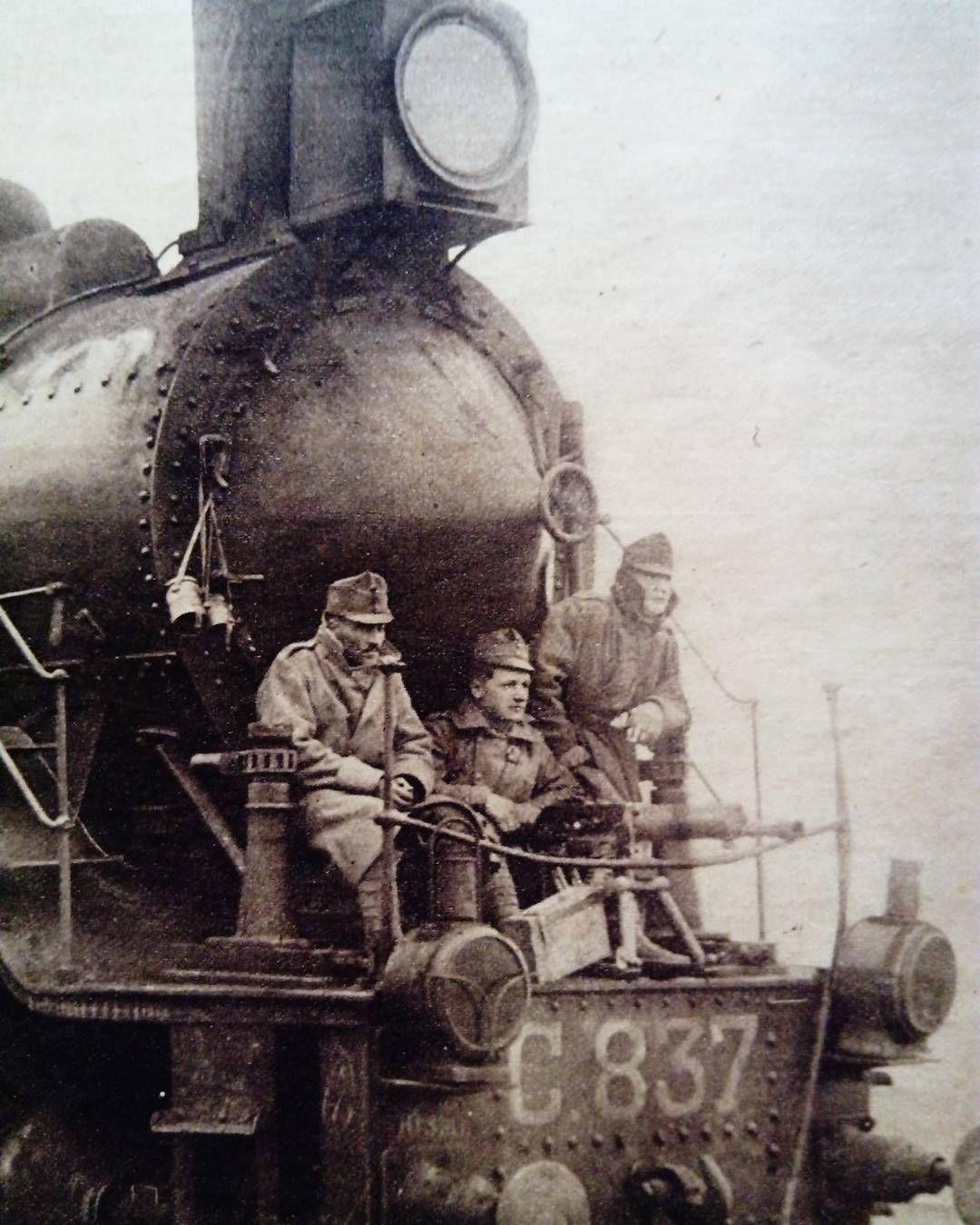 WWI, Austrian machine gun on a locomotive during advance in Ukraine.
