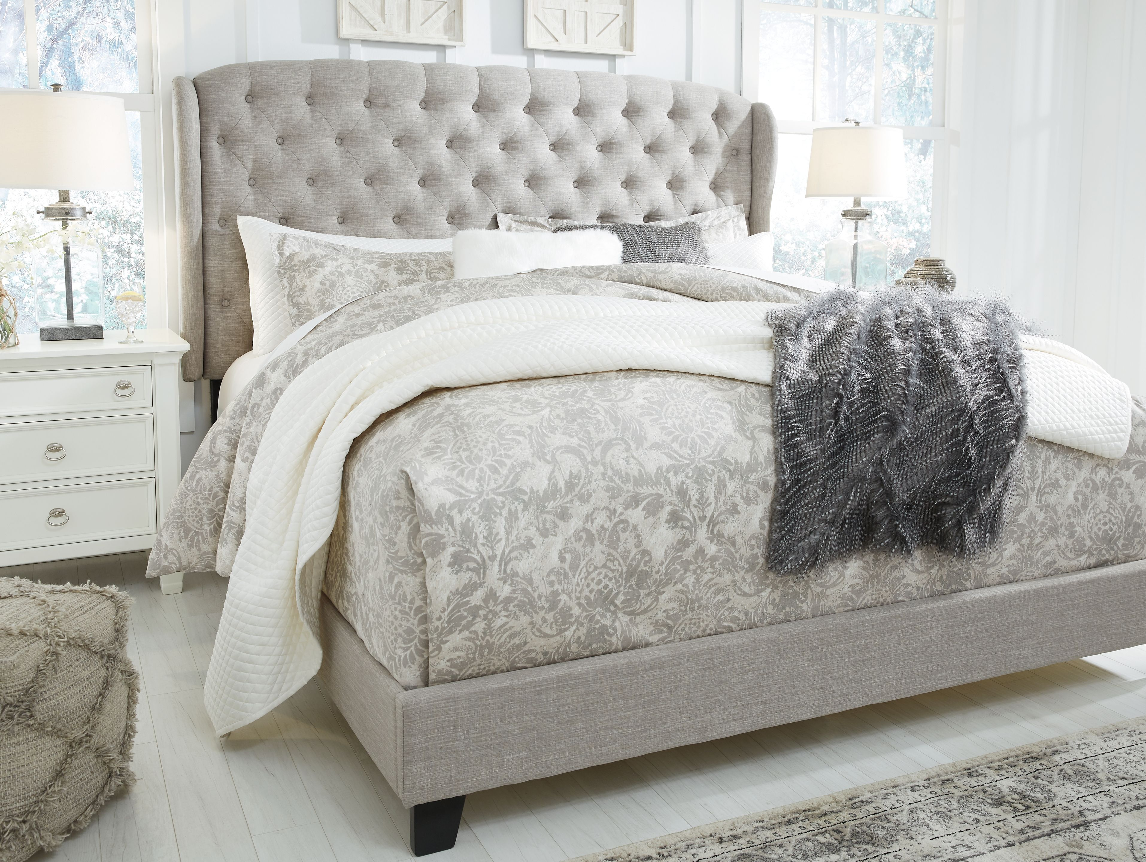 Best Jerary King Upholstered Bed Gray Upholstered Beds Grey 400 x 300