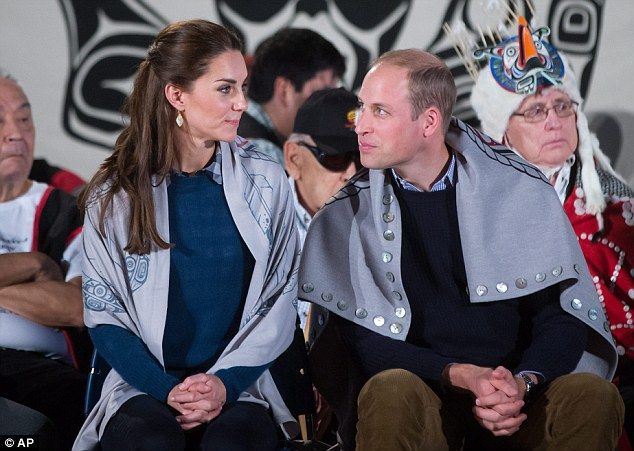 Wills and Kate are draped in traditional blankets as they receive MORE presents for their family during traditional welcome by First Nation chiefs | Daily Mail Online