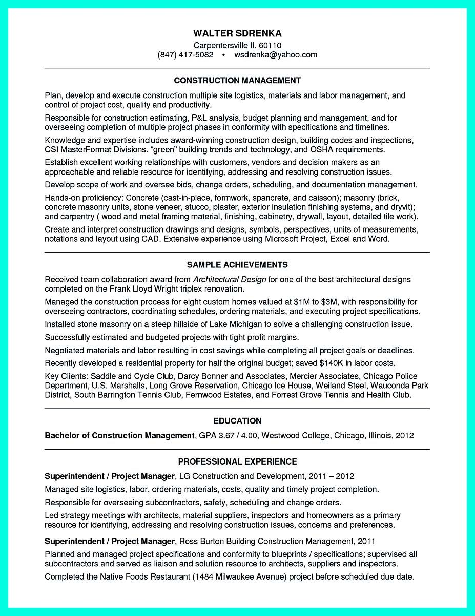 awesome simple construction superintendent resume example to get applied check more at http